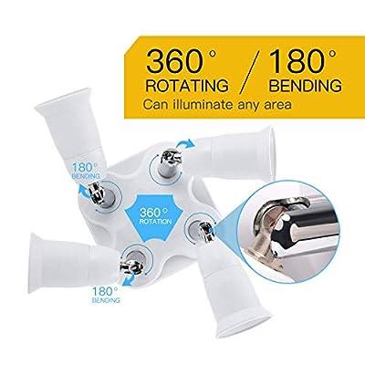 JACKYLED 4 in 1 Light Socket Splitter E26 E27 Adapter Converter for Standard LED Bulbs 360 Degrees Adjustable 180 Degree Bendable Max Watt 240W