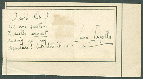 Laura Ingalls Autograph Note Signed