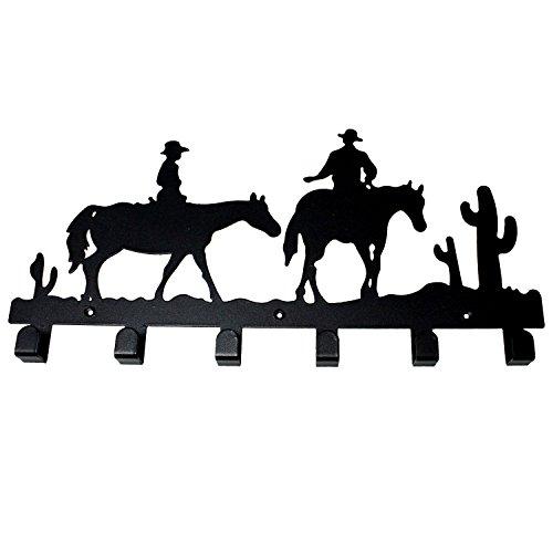 JustNile Decorative Black Wall Mounted 5 Hooks Hanger Utility Rack - Western Cowboy Design (Western Cowboy Wall Hook)