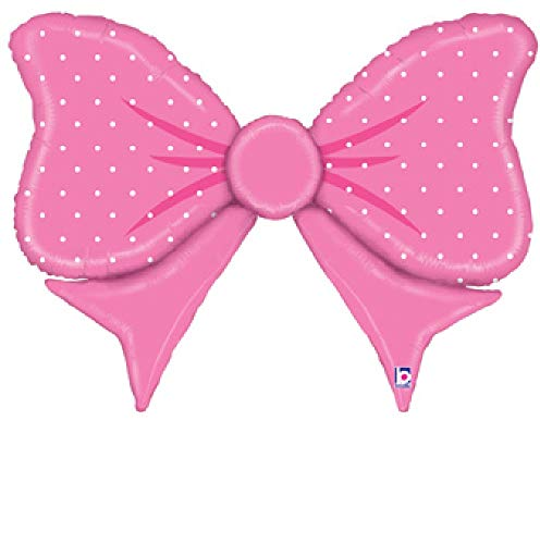 1 New 43 inch foil Balloon Party Pink Bowtie Hair Bow Baby Shower Gender Reveal Gift Favor -