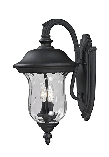 - Z-Lite 534M-BK Armstrong Outdoor Wall Light, Aluminum Frame, Black Finish and Clear Water Glass Shade of Glass Material
