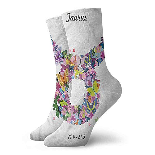 - Socks Ladies Print Taurus,Bull Horns Floral Wreath 3.4