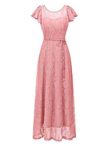 BeryLove Women's Long Floral Lace Maxi Dress Evening Party Wedding Dress BLP7009BlushS