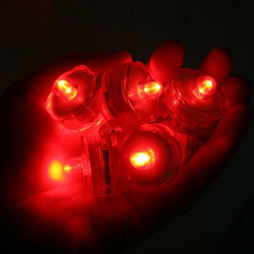 SOKATON Submersible Tea Light Battery Operated Waterproof LED Tealights Underwater Vase Light for Christmas Xmas Holloween Party Wedding Decoration - Pack of 12 - Red (Tea Red Lights)