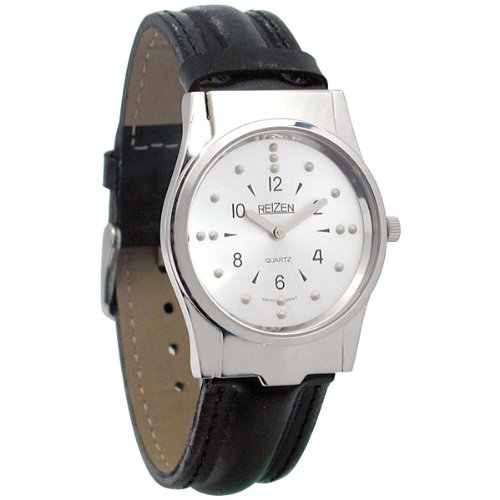 Reizen Mens Braille Watch -Chrome, Leather Band