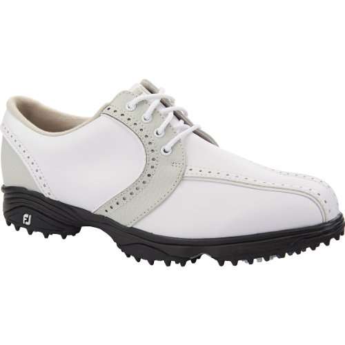 Closeout Athletic Shoes (Footjoy Ladies Greenjoys Saddle Golf Shoes White/Cloud 7 Medium- Closeout)