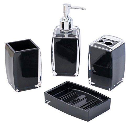 4-Piece Bathroom Accessories Set, Includes Decorative Countertop Soap Dispenser, Dish, Tumbler, Toothbrush Holder, Resin… - 4 piece bathroom accessory set. The set includes 1 tumbler, 1 toothbrush holder, 1 soap dispenser and 1 soap dish. Made of durable plastic and easy to clean - bathroom-accessory-sets, bathroom-accessories, bathroom - 41hVumaHsLL -