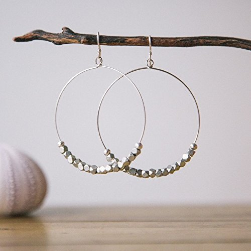 Dangling Earrings Handmade (Silver Hoop Earrings for Women | Handmade Beaded Bohemian Drop Dangle | Fair Trade Jewelry by Madres Collectivec by The Madres Collective)