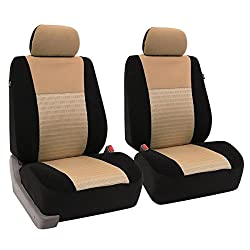 Fh Group Universal Fit Full Set Trendy Elegance Car Seat Cover, (Beigeblack) (Fh-fb060115, Airbag Compatible & Split Bench, Fit Most Car, Truck, Suv, Or Van)
