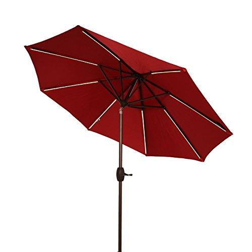 Ulax Furniture 9 Ft Solar Powered LED Lights Patio Umbrella