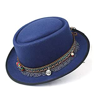 2019 Mens Womens Hats Men Women Unisex 2019 Fashion Flat Top Hat Fedora Hat for Gentleman Pork Pie Hat with Tassel Ribbon Vintage Trilby Fedora Hat Casual Wild Hat (Color : Blue, Size : 58)