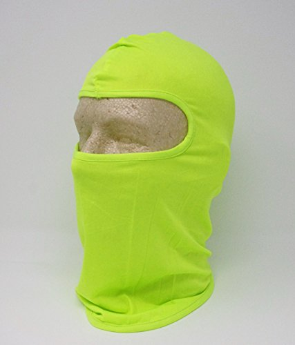 Solid Neon Hazard Yellow Green Lycra Poylester Microfiber Spandex Stretch Balaclava Face Mask Hunting Military Hunt Biker Outdoors Ski ()