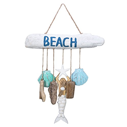 Beach-Driftwood with Mermaid and 6 Dangles Wood Wall Plaque (Drift Wood Wall)