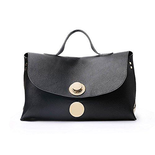 A Nero Nuovo Donna Nclon Messenger Pelle Borsa d'oro Vera Shoulder Bag Bestiame Grande Borse Pelle Capacità De Tracolla In UU4OtPwRSq