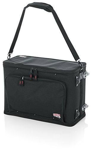 (Gator Cases Lightweight Rack Bag with Removable Shoulder Strap, Pull handle, and Wheels; 3U Rack - 12.5