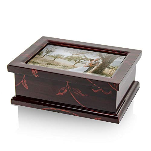 Modern 4 X 6 Photo Frame Musical Jewelry Box with Floral Motifs - Over 400 Song Choices - Romeo and Juliette