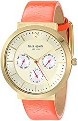 kate spade new york Women's 1YRU0538 Metro Grand Gold-Tone Stainless Steel Watch with Coral Leather Band