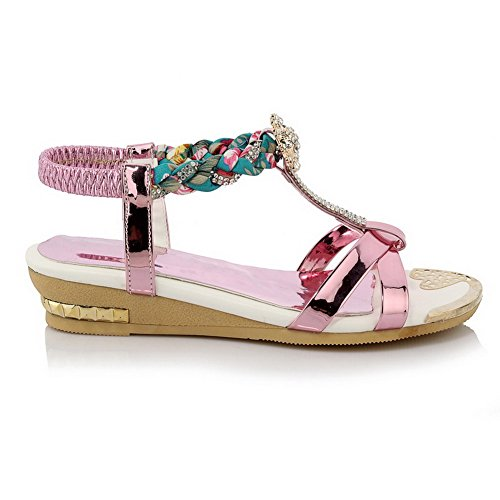 Open heels AmoonyFashion Elastic Purple Womens Assorted Low Sandals Color PU Toe qtTZWtn