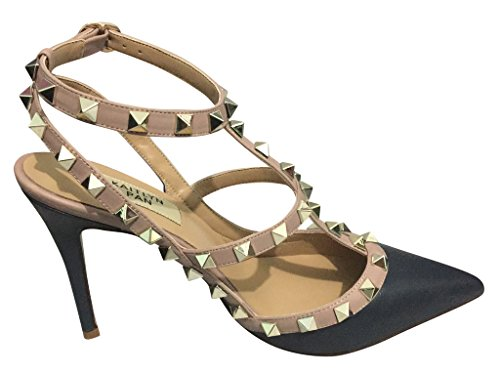 Kaitlyn Pan Pointed Toe Studded Strappy Slingback High Heel Leather Pumps Stilettos Sandals Dark Blue Matte/Nude Trim/Gold Studs Swwgh