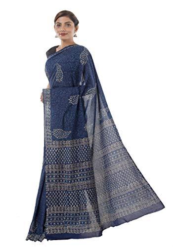 HANDICRAFT-PALACE Indian Block Printed Cotton Saree Women Fashion Sari Body Wrap Ethnic (Indigo Blue Paisley)