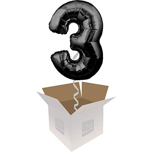 Single Balloon InterBalloon Helium Inflated 34  Number 3 Black Megaloon Balloon Delivered in a Box with 4 Extra Balloons of your choice