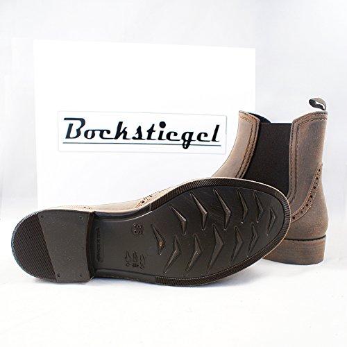 Bockstiegel CHELSEA B - Botas en goma con óptica de cuero l varios colores l tamaños 36-41 marrón