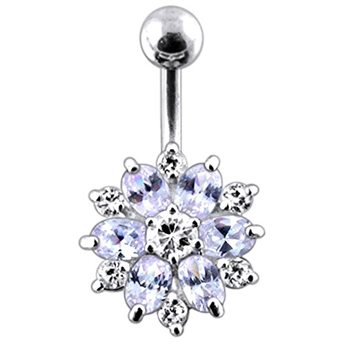 Flowers Sterling Silver Belly Button Ring (Lavender Crystal Stone Fantasy Mini Double Layer Flower 925 Sterling Silver with Stainless Steel Belly Button Navel Rings)