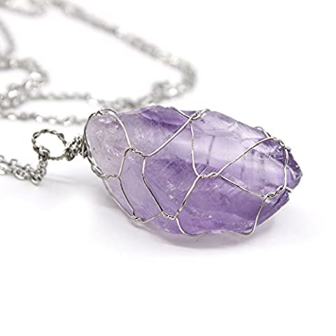 Full Wire Wrapped Natural Raw Amethyst Quartz Stone Healing Crystal Gemstone Pendant Necklace - Crystal Wrap Necklace