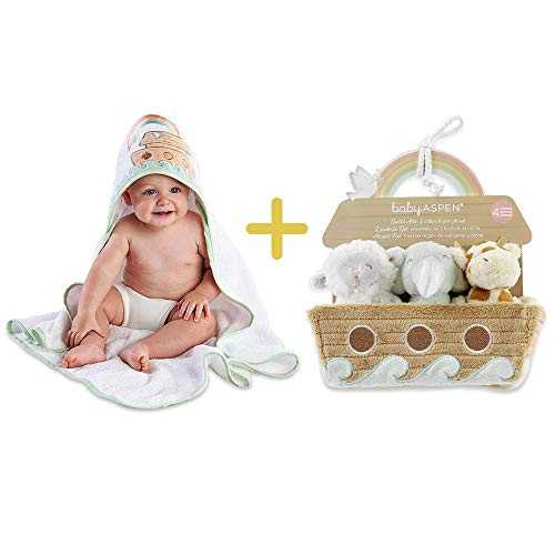 Noah's Ark Hooded Towel & Baby Rattles, Baby Aspen 2 in 1 Registry Essentials, Hooded Terry Cloth & 4-Piece Rattle Gift Set for Babies, Newborns, Infants, Toddlers & Kids, Perfect Baby Shower Gift