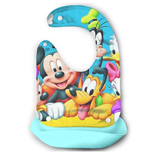 Baby Bib Donald Duck Mickey and Goofy Waterproof Feeding Bibs for Babies and Toddlers with Food Catcher Pocket Sky Blue