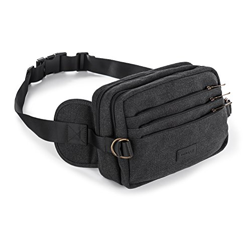 Multi-functional Canvas Fanny Pack Waist Bags Large Capacity 6 Zipper Pockets Wallet Cell Phone Pocket for Hiking Outdoors Workout Traveling Casual Cycling (Black)