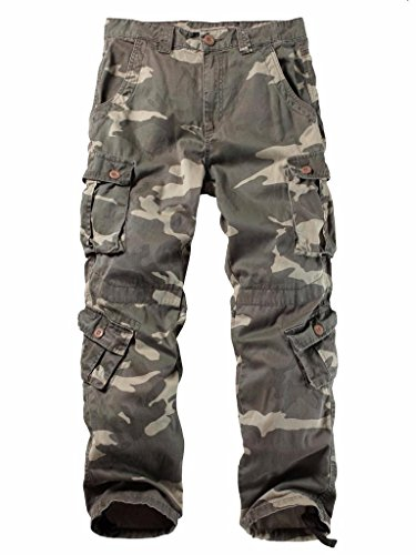 Must Way Men's Cotton Casual Military Army Cargo Camo Combat Work Pants with 8 Pocket 3357 C34 Camo 29