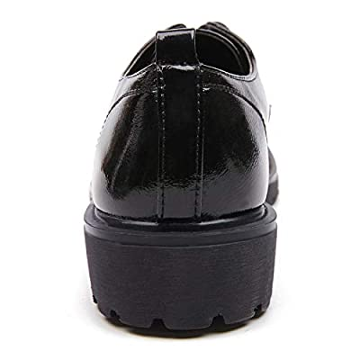 AIMEIGAO Women's Black Oxfords, Patent Leather Oxford Shoes for Women
