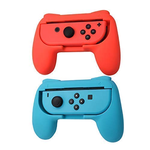 TOMSIN Grips for Nintendo Switch Joy-Con, Wear-Resistant Handle Kit for Switch Joy Con Controllers 2 Pack (Red & Blue)