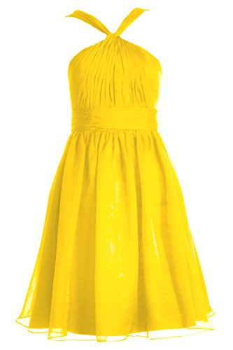 MACloth Women Knotted Chiffon Short Bridesmaid Dress Formal Cocktail Party Gown Amarillo