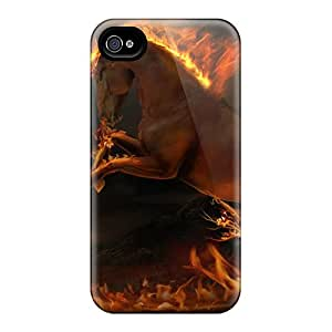 Iphone 4/4s Cases, Premium Protective Cases With Awesome Look - 3d Burning Horse