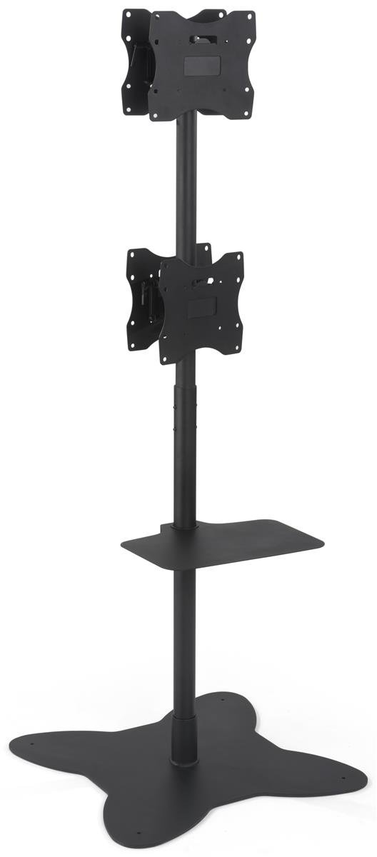 Displays2go Floor Standing Quad Monitor Stands, Double Sided, Steel Construction – Black Finish (EMDPD2642D)