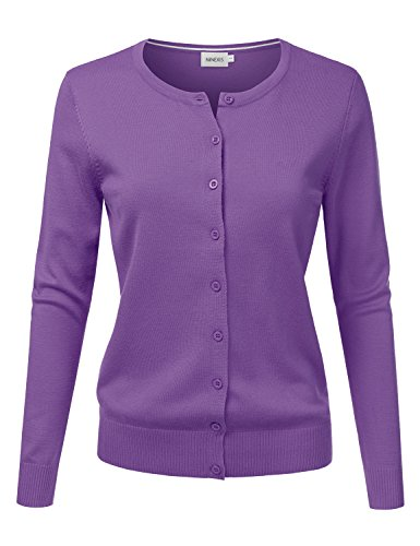 NINEXIS Womens Long Sleeve Button Down Soft Knit Cardigan Sweater S, Awocal0210_ultraviolet