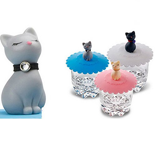 Tangser Silicone Cats Cup Lid, Anti-dust Tea Cup Covers,Coffee Mug Cover(Cat, 3 pcs)