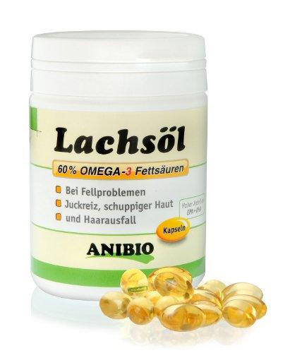 Anibio Lachsölkapseln 180 Stueck Ergänzungsfutter für Hunde und Katzen, 1er Pack (1 x 0.133 kg)