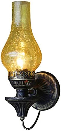 KTOL E27 Candelero Rústico Lámpara de pared, Retro Industrial Pared luz Con Crack Vidrio pantalla de lámpara Hierro forjado Loft Aplique de pared-amarillo