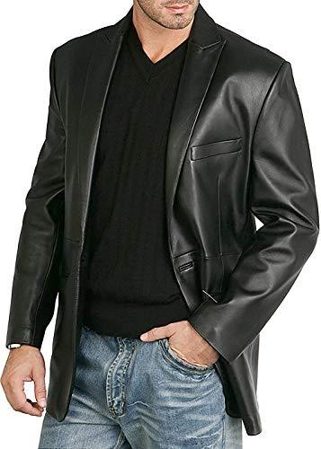 (Men's Casual One-Button Black Genuine Sheep Skin Leather Blazer Coat. (L) )