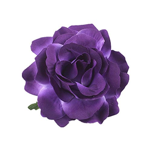 (Lovefairy Beautiful Rose Flower Hair Clip Pin up Flower Brooch For Party Travel Festivals (Dark Purple))