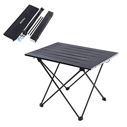 YAHILL Aluminum Folding Collapsible Camping Table Roll up 3 Size with Carrying Bag for Indoor and Outdoor Picnic, BBQ, Beach, Hiking, Travel, Fishing (Black-XL) - Table Sizes Tent