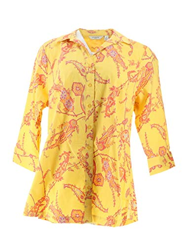 Liz Claiborne NY Button Down Paisley Printed Tunic Yellow Multi 12 New A252288 (Button Shirt Liz Claiborne Down)