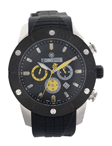 TechnoSport Unisex TS-700-6 Black Silicon Strap Watch, Black Bezel and Dial with Yellow Details