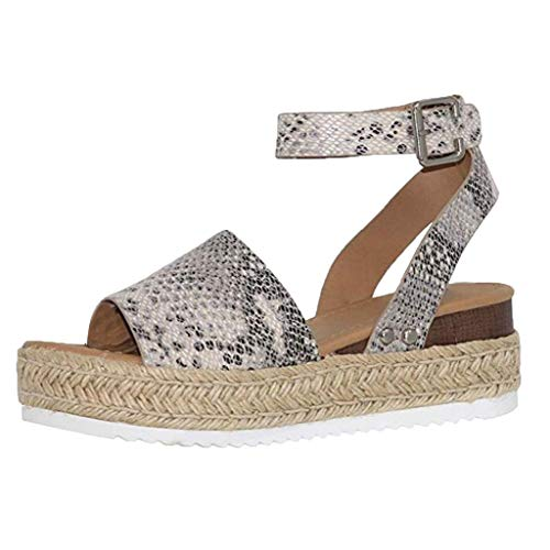 JJLIEKR Women Snake Leopard Wedges Platform Chunky Sandals Espadrille Ankle Buckle Strap Peep Toe Shoes Summer Fashion White
