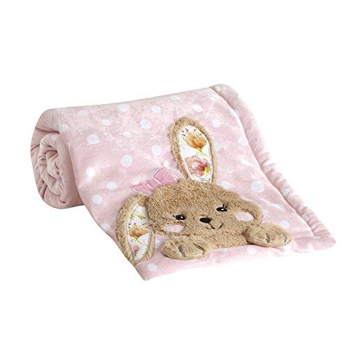 - Happi by Dena Sweet Spring Floral Bunny Blanket, Pink/White