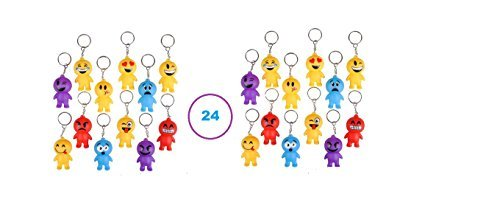 RIN (24) Emoji Guy Keychains~ 2'' Rubbery Party Favors ~Teacher Prize ~ Secret Santa Birthday Goody Bag Fillers ~ Fair Prize ~ Gag Toy