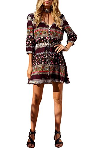 JudyBridal Women Summer V Neck Print Short Casual - Womens Brown Western Dress